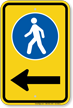 Pedestrian Walking Sidewalk Sign With Left Arrow