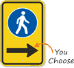 Pedestrian Walking Sidewalk Sign With Right Arrow