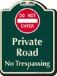 Private Road, No Trespassing Signature Sign