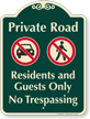 Private Road, Residents Guests Only Signature Sign