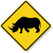 Rhino Crossing Symbol Sign