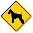 Schnauzer Dog Symbol Crossing Sign