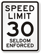 Seldom Enforced NYC 30 MPH Speed Limit Sign