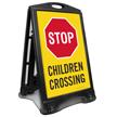 Stop For Children Crossing Sidewalk Sign
