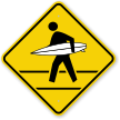 Man with Surfboard Graphic Surfer Crossing Sign