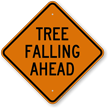 Tree Falling Ahead Diamond-shaped Traffic Sign