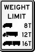 Trucks Weight Limit Sign