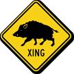 Wild Hog Xing Road Sign
