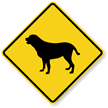 Yellow Lab Symbol Guard Dog Sign