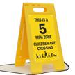 5 Mph Zone Children Crossing Floor Sign