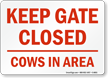 Keep Gate Closed Sign - Cows In Area