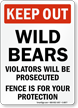 Keep Out Wild Bears, Violators Prosecuted Sign