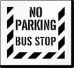 No Parking, Bus Stop Pavement Stencil