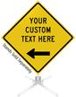 Custom Yellow Roll-Up Sign - Left Arrow