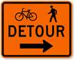 Bicycle Pedestrian Detour Right Arrow - Traffic Sign