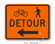 Bicycle Pedestrian Detour Left Arrow -Traffic Sign