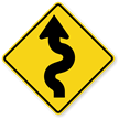 Left Winding Road Sign - Sharp Turn Sign