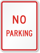 Red No Parking Traffic Sign