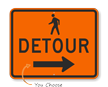 Pedestrian Detour Right Arrow- Traffic Sign