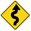 Right Winding Road Symbol - Sharp Turn Sign
