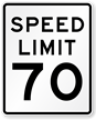 Speed Limit 70 For Road Traffic Sign