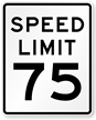 Speed Limit 75 For Traffic Sign