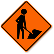 Orange Man at Work Traffic Sign