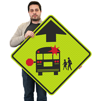 School Bus Stop Ahead - Traffic Sign