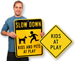 Slow-Kids at Play Signs