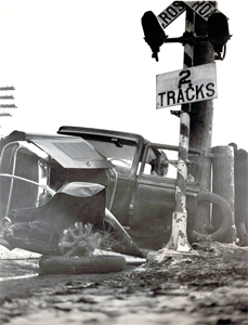 A car and railroad collision