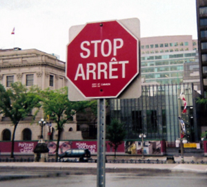 A Canadian stop sign
