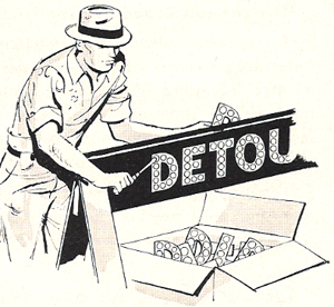 Sketch of man laying cataphotes into a Detour sign; 1927
