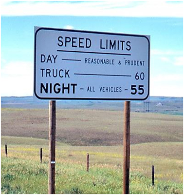 Montana speed limit sign