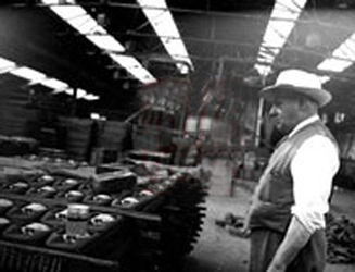 Percy Shaw at his factory