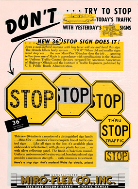 Advertisement for yellow stop signs