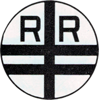 A railroad crossing sign for a double-track crossing, circa 1927