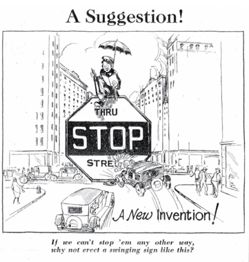 Humorous early stop sign proposal from 1927