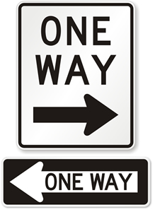 Modern high-visibility one-way signage