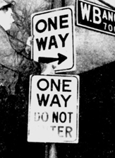 One-Way Sign in 1958