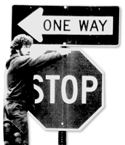 One-Way signs in 1987