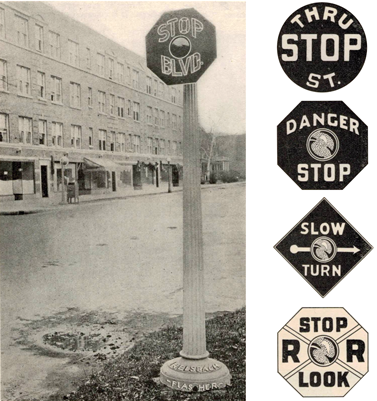 Pre-MUTCD signs were highly variable, as seen in a 1927 sign catalogue