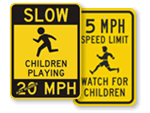 Children Playing MPH Signs