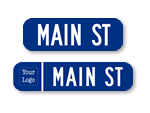 Blue Street Signs - 6 in. high Signs without Border