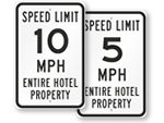 Hotel Speed Limit Signs
