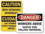 Men Working Above/Below Signs