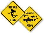 Shark, Whale, Mermaid Crossing Signs