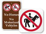 No Horses Signs