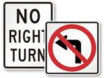 MUTCD Turn Prohibition Signs