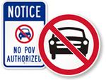 No Vehicles Signs