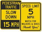 Pedestrians Speed Limit Signs